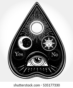Bohemian hand drawn ouija that consists of pictures of the sun, moon, rays and Eye of Providence. Magic, Esoteric Philosophies, tattoo art. Vector illustration. Vector Isolated.