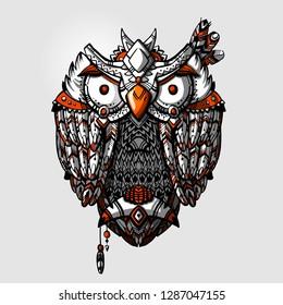 Bohemian hand drawn owl. Tribal boho owl. Wild indian aztec ethnic owl chief.