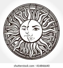 Bohemian hand drawn sun and moon. Tattoo design.Vector illustration. Alchemy symbol.