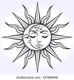 Bohemian hand drawn sun and moon. Vector illustration for coloring book, t-shirts design, tattoo. Vector illustration isolated.