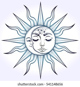 Bohemian hand drawn sun and moon. Vector illustration for coloring book, t-shirts design, tattoo. Sacred Geometry, Magic, Esoteric Philosophies, tattoo, ar. Vector illustration isolated.