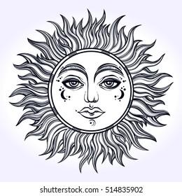 Bohemian hand drawn sun. Vector illustration for coloring book, t-shirts design, tattoo.Vector illustration.