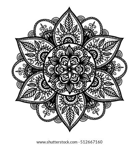 Bohemian Indian Mandala Print Vintage Henna Stock Vektorgrafik