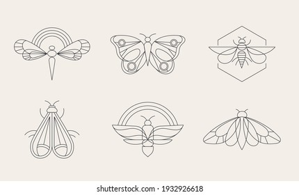 Bohemian linear logos, icons and symbols, insect, butterfly, dragonfly and moth design templates, geometric abstract design elements for decoration.