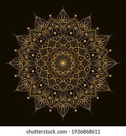 bohemian mandala print, antistress coloring book, tattoo design oriental or indian, islamic mysterious hand drawn ornament for meditation or yoga vector illustration. Black and gold color