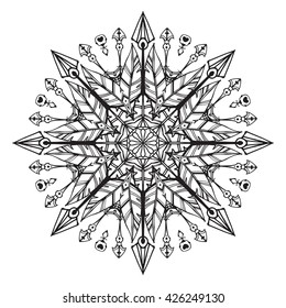 Bohemian mandala. Round pattern, vector ornament in a retro (vintage) style. Good for tattoo or for indian style projects
