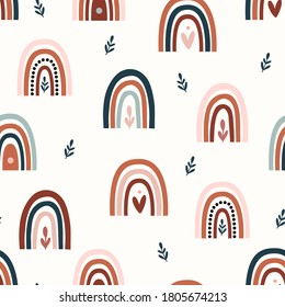 Bohemian, modern boho chic seamless pattern with hand drawn abstract rainbows in scandinavian style. Vector boho seamless repeating background, digital paper, fabric, wallpaper, stationery