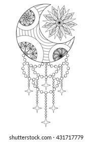 Bohemian Moon and Sun, Hand drawn Zentangle elements for adult antistress coloring pages, art therapy, ethnic patterned t-shirt, Boho tribal style. Doodle Illustration, henna tattoo design. A4.