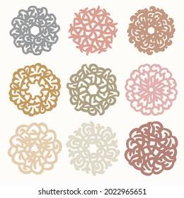 Bohemian Signs Set, Indian Mandala Signs, Vintage Lace Set, Tribal Pattern, Ornamental Lace