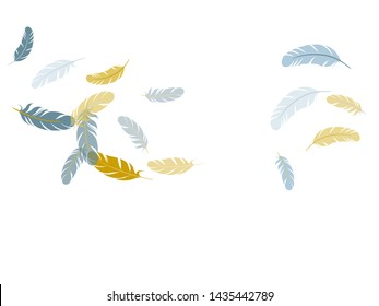 Bohemian silver gold feathers vector background. Soft plumelet native indian ornament. Detailed majestic feather on white design. Plumage trendy fashion shower decor.