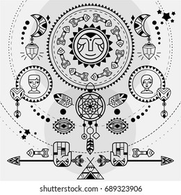 Bohemian style poster. Black and white vector boho illustration with sun, dreamcatcher, arrows and moons. Esoteric spiritual illustration.