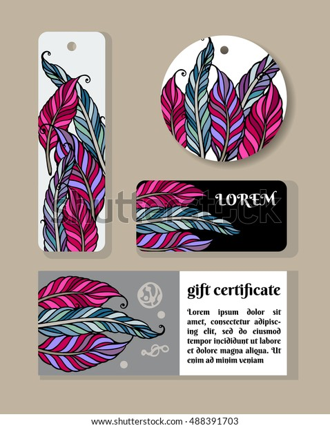 1d7d26ab54e0 Bohemian Style Printable Tags Feather Handmade Stock Vector (Royalty ...