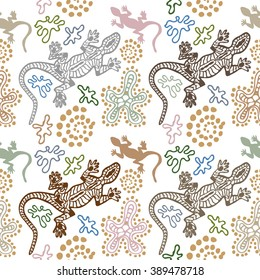 Bohemian style seamless vector pattern. Australian aboriginal arts motifs, pagan drawings. Hand drawn lizards, stones, sand, fantasy flowers. Ethnic textile collection. Grey, green, brown, white.