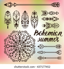 Bohemian summer. Boho style set with mandala and tribal symbols: arrows, feathers, graphic elements. Good for mehndi style tattoos. Vector illustration.