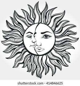 Bohemian Sun and Moon. Tattoo design.Vector illustration. Alchemy symbol.