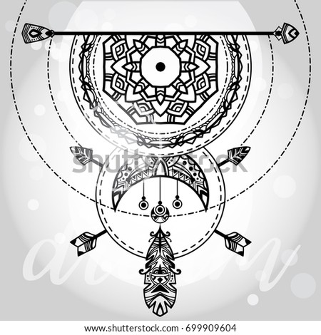 Bohemian tribal dreamcatcher. Black and white vector illustration. Ethnic symbol with arrow, decorative feather, and abstract decorative moon. Abstract boho illustration.