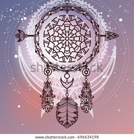 Bohemian tribal dreamcatcher. Ethnic symbol with arrow, decorative feathers, and abstract moon on the background. Abstract boho illustration.