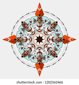 Bohemian vector compass. Boho and tribal style circle ornament. Navigation system symbol. Bohemian Rose of Wind. Aztec symbol