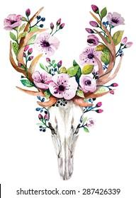 Bohemian watercolor vector western mystical deer skull, print rose flowers. Deer bohemian head, western vintage animal. bohemian watercolor hipster design  print. Bohemian deer print, deer watercolor.