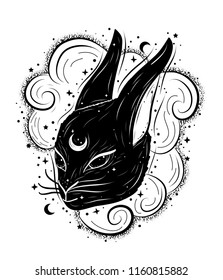 Boho abstract illustration with magic rabbit, clouds and moon. Decorative drawing in flash tattoo style