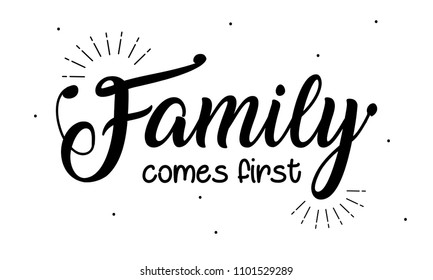 Boho Art with creative lettering quote- family comes first. design illustration.