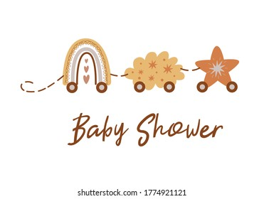 Boho Baby Shower invitation template with train from rainbow, cloud, star. Cute Baby Shower Card with Train Vector
