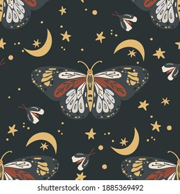 Boho butterfly vector pattern. Moth seamless bohemian background. Celestial art with moon and star.