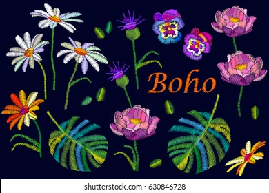Boho chic. Collection of summer flowers with embroidered texture. Chamomiles, peonies, thistles, palm leaves.