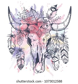 Boho chic, ethnic, native american or mexican bull skull with feathers on horns. Tribal hand drawn vector illustration. Poster, postcard, invitation design