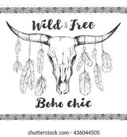 boho chic, ethnic, native american or mexican bull skull with feathers on horns and traditional ornament; tribal hand drawn vector illustration in sketch style; poster, postcard, invitation design