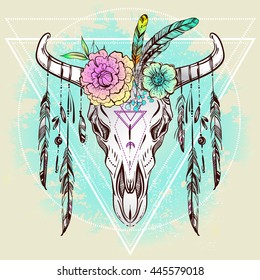 Boho Chic, Ethnic, Native American Bull Skull with Feathers and Boho flowers on horns; Trendy Vintage style Illustration. Dark romance, philosophy, spirituality, occultism, alchemy, magic, love.