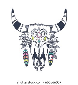 Boho chic image Fashion illustration Wild skull with flowers and feathers. Boho style For t-shirt, invitation, posters