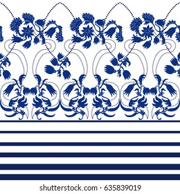 Boho chic. Seamless vector border with stripes and damask ornament. Print for dress design.