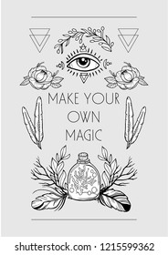 Boho chic style design for cards, posters,  flyers, t-shirts. Tribal illustration with magic eye, florals, feathers and elixir bottle.  Isolated black and white decorative elements.