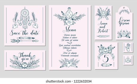 Boho chic style printable wedding set. Collection of wedding polygraphy elements with tribal objects: florals, feathers, arrows, dream catcher and magic elements. Hand drawn design on pink background.