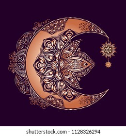 Boho chic tattoo design. Golden crescent moon and sun with elements of the mandala - astrology, alchemy and magic symbol. Isolated vector illustration.