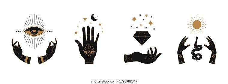 Boho doodle mystic hands. Hand drawn esoteric icons, simple feminine logo set with moon eye sun snake. Vector illustration.