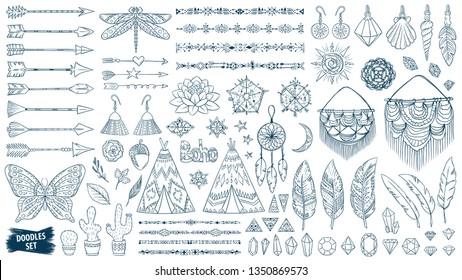 Boho doodles set. Ethnic. Tribal. Bohemian style. Feather. Arrows. Crystal. Macrame. Boho chic. Crochet. Ornaments. Fashion. Bohemian. Fashion trend. Mystical. Native. Trendy sketches collection.