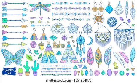 Boho doodles set. Ethnic. Tribal. Bohemian style. Feather. Arrows. Crystal. Macrame. Boho chic. Ornaments. Feather. Hippie. Wild. Boho style. Fashion. Trendy sketches collection.