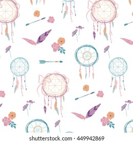 boho dream catcher arrows feathers graphic seamless pattern