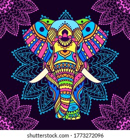 Boho elephant pattern. Vector illustration. Floral design, hand drawn map with Elephant ornamental.Tribal, India, hippie, Bohemian styles. Psychedelic colors