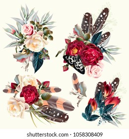 Boho fashion collection of vector flowers with feathers