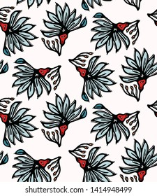 Boho flower bloom vector all over print.  Seamless repeating pattern swatch. Red black bohemian folk floral background. Hand drawn retro fashion prints 1970s style. Wzory wallpaper, lino cut   design