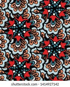 Boho flower mandala vector all over print.  Seamless repeating pattern swatch. Red black bohemian folk motif background. Hand drawn retro fashion prints 1970s style. Wzory wallpaper, lino cut   design