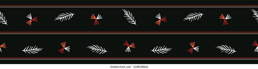 Boho Garden Leaves Seamless Vector Border. Botanical Leaf Shapes. Dark Black Red Bohemian Folk Stripe. Hand Drawn Striped Fashion Trim, Classy Banner, Stationery, Washi Tape, Hipster Nature Packaging.