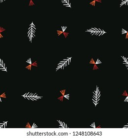 Boho Garden Leaves Stripes All Over Print Vector. Botanical Seamless Repeating Pattern. Dark Red Black Bohemian Folk Background. Drawn Fashion Prints, Wallpaper, Stationery, Hipster Nature Packaging.