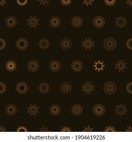 Boho Golden Sun Seamless Pattern in Minimal Liner Style. Vector Dark Background for Fabric print, Cover, Wrapping