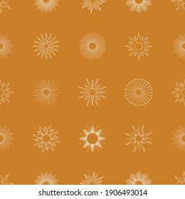 Boho Golden Sun Seamless Pattern in Minimal Liner Style. Vector Background for Fabric print, Cover, Wrapping, Wallpaper
