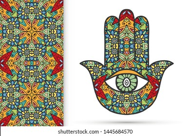 Boho hamsa hand, protection amulet, symbol of strength and happiness with seamless geometric pattern. Abstract graphic background, vertical floral doodle pattern, vector illustration