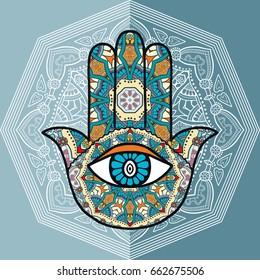 Boho hamsa hand, protection amulet, symbol of strength and happiness with mandala doodle geometric ornament. Decorative isolated design elements, flat style background. Hand drawn ethnic motif